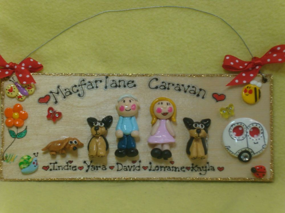 5 character (including pet(s) + Caravan  3d Family Sign Personalised & Customised Every One Unique Handmade To Order (1)